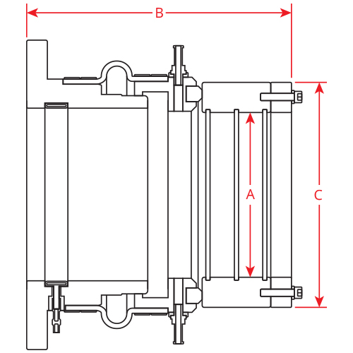 PSS Type C Seal Flange Bladder Mounted model dimensions